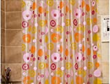 Waterproof And Mildew-Resistant Thickening PVC Environmental Bathroom Shower Curtain With Orange Flower,72x72 inch(180x180 cm)