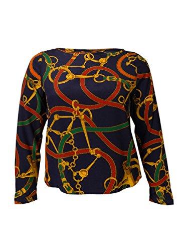 Lauren Ralph Lauren Women'S Printed Silk Boat Neck Top (14P, Navy Multi)
