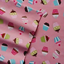 Home Classics Full Size Heavyweight 5 oz (170-gram) 4 Piece Flannel Sheet Set with Deep Pockets Pink Cupcake