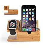 VAMVAZ Apple Watch Stand, Bamboo Wood Charging with 3 USB Port Stand Bracket Docking Station Stock Cradle Holder for Apple Watch & iPhone - Fits iPhone Models: 6/6S/6 Plus/6S Plus and All Apple Watch