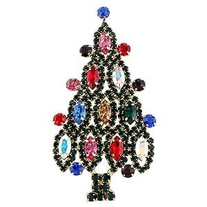 Generisches österreichisches Kristall Pferdaugen Weihnachtsbaum Brosche Bunt Grün-Gold-Ton A09713-12