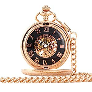 ALIENWOLF Antique Mechanical-hand-wind Pocket Watch with Chain and Box #5