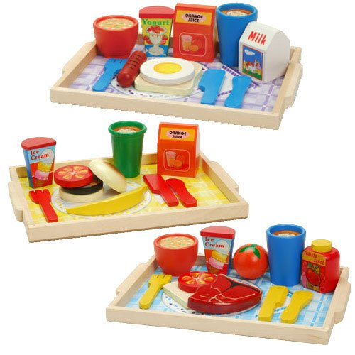 Wood Meal Trays - Breakfast, Lunch & Dinner