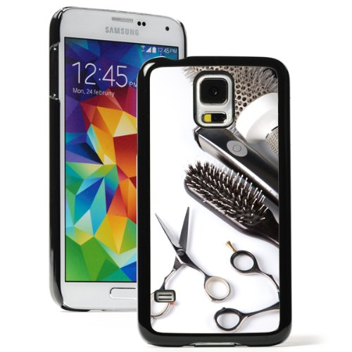 Samsung Galaxy S5 Hard Back Case Cover Color Scissors Comb Brush Hair Dresser (Black) (Hair Brush Case For Galaxy S5 compare prices)
