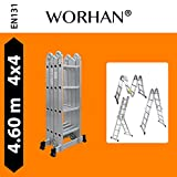 WORHAN® 4.6m Foldable Multipurpose Multifunction Aluminium BIG HINGE Ladder with Twin Stabilizers Step Ladder KS4.6