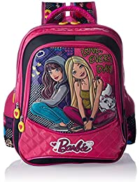 Barbie Polyester Pink And Black School Bag (Age Group :6-8 Yrs)