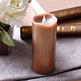 Led-Candle-Flameless-Candle-Moving-Wick-Free-Flowing-3D-Fireless-flame-Real-Wax-LED-Pillar-Candle-Light-With-TimerHome-DecorationsBattery-Operated3x7-InchBrown