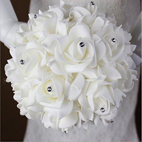 StillCool Still Pure-white Crystal Pearl Silk Roses Bridal Bridesmaid Wedding Bouquet (18cm*24cm, Royal-blue)