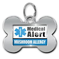 "Dog Bone Pet ID Tag Medical Alert Blue ""Mushroom Allergy"" - Neonblond from NEONBLOND"