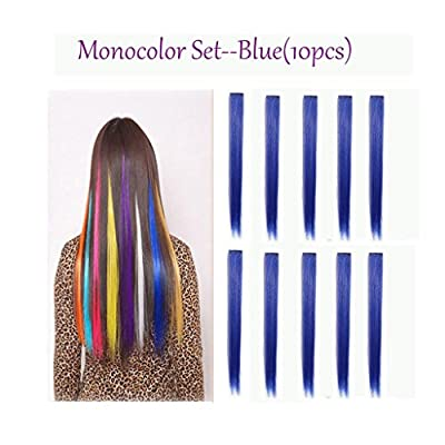 10PCS Blue Colored Hairpieces 22Inch (55CM) Straight Clip in Hair Extensions Fashion Hairpieces Party Highlight (10pcs Blue)