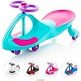 EIGHTBIT Swivel Car Rolling Ride On Car - Indoor / Outdoor - Ice Storm Teal/Pink/Purple