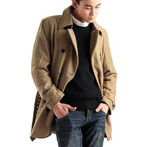 (ラフタス)Rafftas メルトン ウール トレンチ コート Lサイズ キャメル 秋 冬 ロングコート チェスター ステンカラー メンズ mens