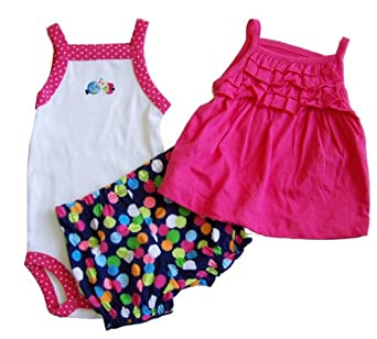 """Carter's Girls """"Oh-so-fun"""" 3-piece 100% Cotton Knit """"Kissy Fish"""" Bodysuit, Swing Top, and Bloomer Shorts Set (6 Months)"""