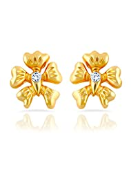 Mahi Gold Plated Floral Charm Stud Earrings With Crystal For Women ER1109293G