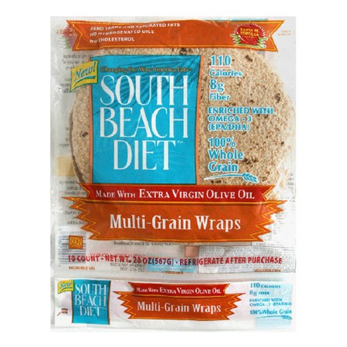 South Beach Living Multi Grain Wrap, 10-Count, 8-Inch Wrap (Pack of 6)