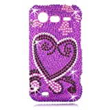 Talon Full Diamond Bling Snap on Hard Shell Protector Faceplate Cover Case for HTC 6350 Droid Incredible 2 (Purple Heart)