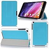 【VSTN】全4色 Asus Memo pad 8 ME181 専用保護ケース 超薄型 超軽量 マグネット開閉式 三つ折 高級PU レザーケース (ブルー)