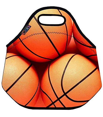 Basketball Soft Insulated Lunch box Food Bag Neoprene Gourmet Handbag lunchbox Cooler warm Pouch Tote bag For School work (Basketball Food compare prices)