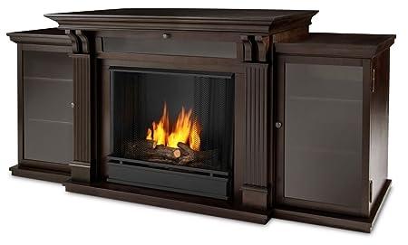 Dark Walnut Ashley Gel Fuel Fireplace & Entertainment Unit