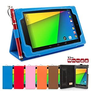 Snugg New Nexus 7 2 FHD 2013 Case in Electric Blue - Flip Stand Cover with Elastic Hand Strap, Stylus Loop and Premium Nubuck Fibre Interior - Automatically Wakes and Puts the Google Nexus 7 2 to Sleep