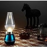 (アイアンコ)iAnko ガラス 照明 レトロ ライト 高級 息を吹きかけて点消できる 充電式調光フェラコントロールLEDランプ/クラシック灯油ランプデザイン/ USB LEDテーブルライトの明るさが調整可能パワード 屋内&屋外で使用する場合、常夜灯、読書灯、ロマンチックなディナー、アウトドアキャンプ、釣り、装飾、など(ブルー)