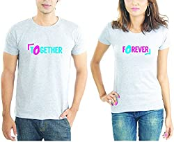LaCrafters Couple tshirt - Together Forever Couples Tshirt_Grey_XXL - Set of 2