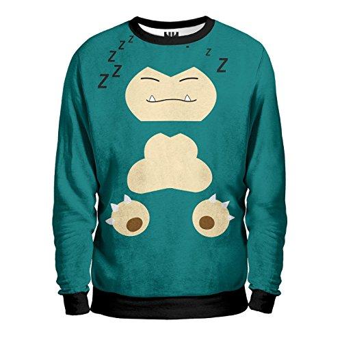 SNORLAX Pokémon Sweatshirt Man - Felpa Uomo - Charmander Pokemon Go Rosso Blu Giallo, T-Shirt, Nintendo Game Boy 3DS Pikachu