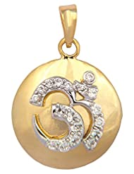 Vama Collections One Gram Gold Plated Om Omm Pendant With Cubic Zirconia Diamond For Men Women Children - B00ORNI1JI