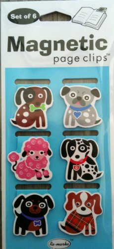 Small Fashion Dogs Mini Illustrated Magnetic Page Clips Set of 6 by Re marks