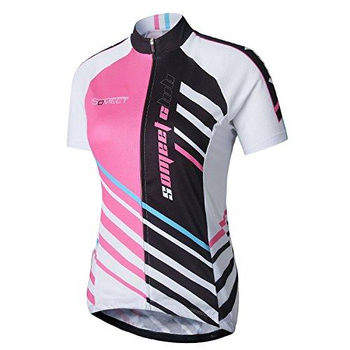 Someet-Maglia da ciclismo da donna, estivi, camicie, comoda, traspirante, ad asciugatura rapida, da strada, Mountain Bike, & Abbigliamento per ciclismo a maniche corte, da donna, per abiti sportivi da donna, con cerniera intera, da uomo, bianco