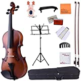 ADM 4/4 Full Size Handcrafted Solid Wood Student Acoustic Violin Starter Kits, Beginner Outfit with Violin Hard Case, Bows, Music Stand, Tuner, etc, Brown