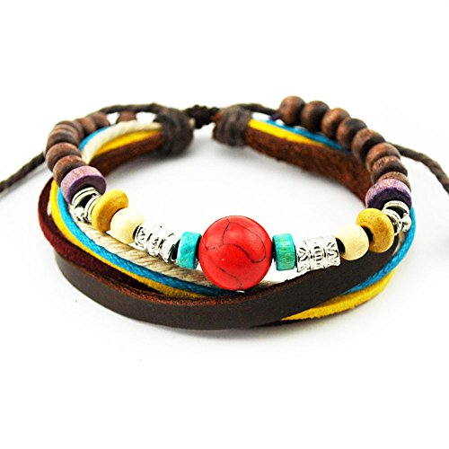 Real Spark Multicolor Rope Leather Wristband Tribal Adjustabel Tribal Wood Beads Classy Wrap Bracelet