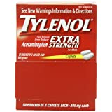 Tylenol Extra Strength Caplets, Pouches of 2, 50 Count