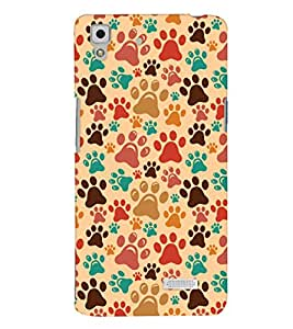 ColourCrust Oppo R7 Mobile Phone Back Cover With Animal Paw Print Pattern Style - Durable Matte Finish Hard Plastic Slim Case