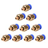 10Pcs/Pack PC4-M6 Pneumatic Straight Fitting for 4mm OD Reprap 3D Printer Bowden Line Connector Tube