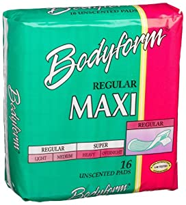 Bodyform Regular Maxi Pads, 16-Count Package (Pack of 36)