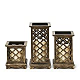 Set of 3 Flameless Bronze Wood Moroccan Lanterns with Water Resistant Ivory Candles and Warm White LEDs, Batteries Included, 8 Function Remote Included, Timer and Dimmable Options, Indoor/Outdoor Use
