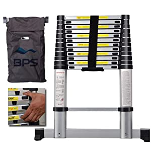 3.85m Aluminium Telescopic Ladder -- with FREE Carry Bag & Finger Protecting Cubes & Safety Stabiliser Bars. (12.6Ft) Foldable Ladder Extendable Steps
