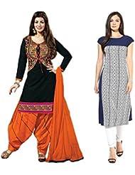 Sky Global Women's Regular Wear Dress Material And Kurti (Combo Pack Of 2)(SKY_DK_9044)(SKY_547_Black)(SKY_7033...