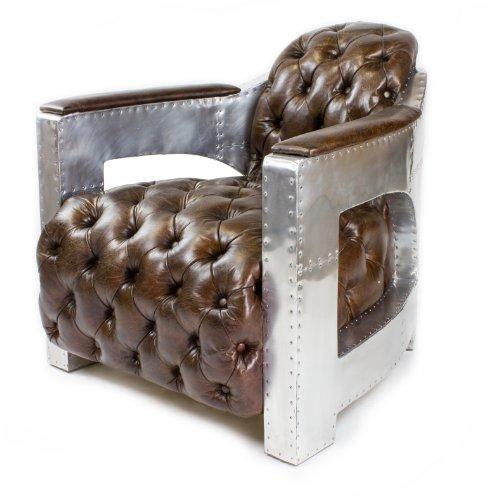 Echtleder Vintage Alu Sessel Ledersessel Design Lounge Club Sofa NEU 456