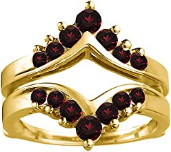 10k Gold Chevron Ring Guard with Ruby 05 ct twt