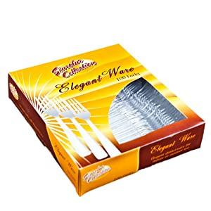 Clear Medium Weight plastic Forks - 100 Count by Elegant Wave