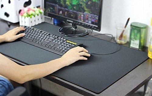 【Amateras】本格レザー調デスクマット パソコン デスクにも ピッタリ! ライティングパッド マウスパッド 高級感 使い心地も最高【AM158】 (ブラック)