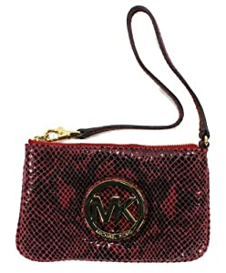 Michael Kors Fulton Python Embossed Leather Wristlet, Red