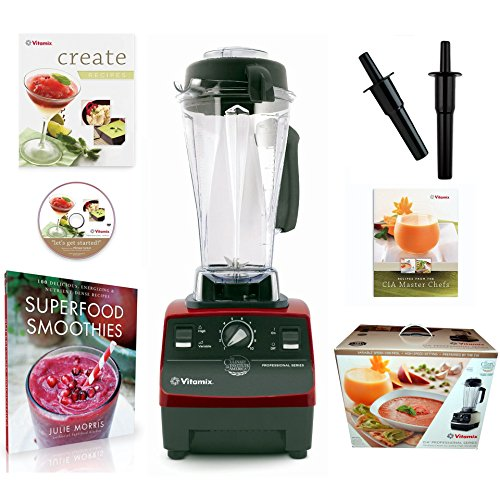 Vitamix CIA Professional Series Blender (1365) with Superfood Smoothies: 100 Delicious, Energizing & Nutrient-dense Recipes Book and Two Accelerator/Tamper Tools (Ruby Red) (Vitamix Next Generation compare prices)