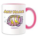 Personalised Gift - Angelfish Mug (Animal Sealife Design Theme, Colour Options) - Any Name / Message on Your Unique Mug - Tropical Angel Fish Pterophyllum
