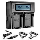 Neewer® Dual LCD Battery Charger for Nikon EN-EL15 Batteries Compatible With Nikon D800 D800E D610 D700 D7200 D7000(US Plug + EU Plug + Car Charger Adapter)