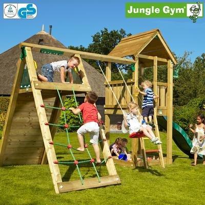 Jungle Gym Jans CLUB - Spielturm Set mit Kletterwand und Rutsche - Grün