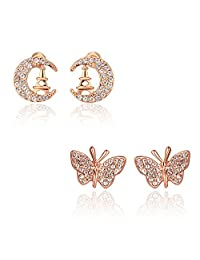 Combo Of Beauties Of Nature Rose Gold Plated Cubic Zircon Studs Earrings For Girls And Women By YELLOW CHIMES