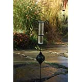 Toland Home Garden Garden Delights - Green Decorative Outdoor Garden Stake Rain Gauge Statue with Glass Udometer for Yards, Gardens, and Planters 218175